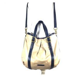 Cole Hann Beige & Blue Hobo Shoulder Purse Handbag